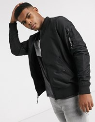 Hollister Mid Weight Bomber Jacket In Black