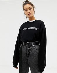 Cheap Monday Reflective Logo Sweatshirt With Organic Cotton Black