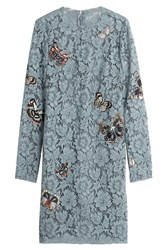 Valentino Butterfly Embroidered Lace Dress Blue