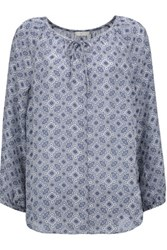 Joie Sofina Printed Silk Blouse Storm Blue