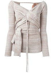 No21 Tie Up Striped Cardigan Nude And Neutrals