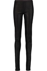 Rick Owens Textured Leather Leggings Black