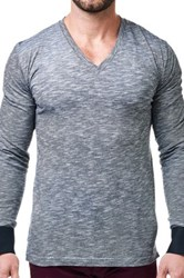 Maceoo Heathered V Neck Long Sleeve Shirt Black