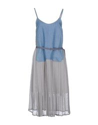 Tela Dresses 3 4 Length Dresses Women Pastel Blue