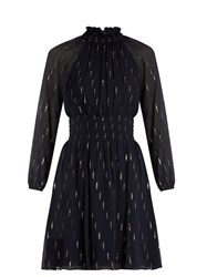 Rebecca Taylor Gathered Fil Coupe Silk Blend Dress Navy