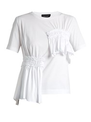 Simone Rocha Short Sleeved Gathered Panel Cotton T Shirt White