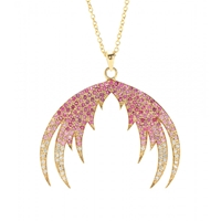 House Of Waris Plumage Ombre 18Kt Gold Pendant Necklace With Pink Sapphires