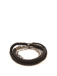 Title Of Work 5 Wrap Leather And Sterling Silver Bracelet Black Multi