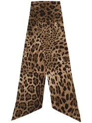 Dolce And Gabbana Animal Print Slim Scarf Brown