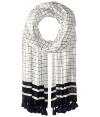 Michael Michael Kors Windowpane Printed Oblong With Tassels Navy Scarves