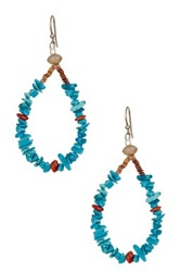 Peyote Bird Sterling Silver Apple Coral And Turquoise Howlite Earrings Blue