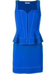 Givenchy Peplum Waist Fitted Dress Polyamide Spandex Elastane Blue