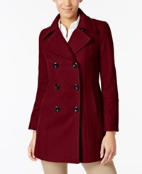 Anne Klein Petite Double Breasted Peacoat Red