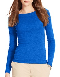 Lauren Ralph Lauren Petite Cotton Ballet Neck Shirt Blue