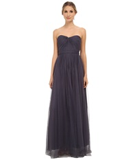 Adrianna Papell Strapless Tulle Convertible Gown Gunmetal Women's Dress Gray