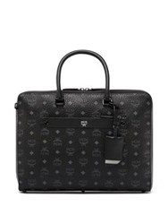 Mcm Markus Coated Canvas And Leather Satchel Black