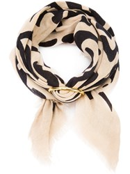 Lizzie Fortunato Jewels Groovy Floral Scarf Women Silk Gold Plated Brass One Size Nude Neutrals