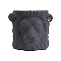 Garden Glory Terracotta Lion Plant Pot Small Grey