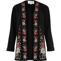 River Island Womens Black Floral Embroidered Duster Coat