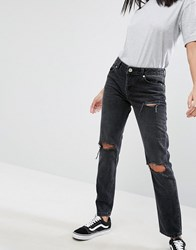 Asos Brady Low Rise Boyfriend Jeans In Washed Black With Busted Knees Washed Black