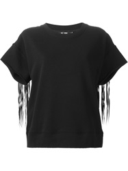 Blk Dnm Fringed Back T Shirt Black