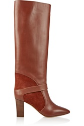 Chloe Suede Paneled Leather Knee Boots