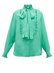 Gucci Ruffled Floral Jacquard Silk Pussybow Blouse Green