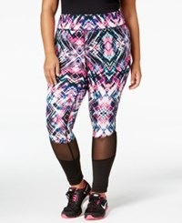 Material Girl Plus Size Mesh Trim Printed Leggings Only At Macy's Geo Burst