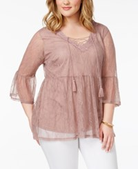 Almost Famous Plus Size Lace Bell Sleeve Top Dark Mauve