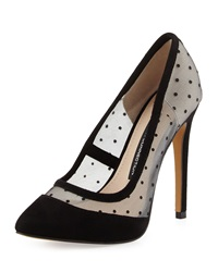 French Connection Camleigh Suede Polka Dot Pump Black