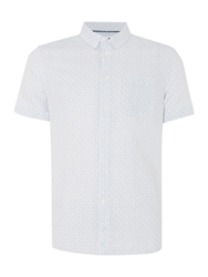 Linea Philipson Button Down Collar Geo Print Shirt White
