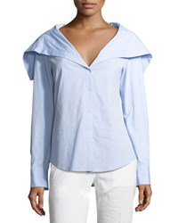 Theory Doherty Wide Collar Shirt Blue