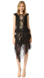Bcbgmaxazria Lace Ruffle Kailin Dress Black
