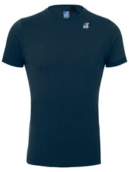 K Way Edouard Crew Neck Short Sleeve T Shirt Blue Depths