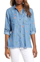 Billy T Laced Back Button Up Shirt Blue W Embroider