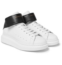 Alexander Mcqueen Larry Exaggerated Sole Leather High Top Sneakers White
