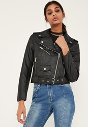 Missguided Black Faux Leather Biker Jacket