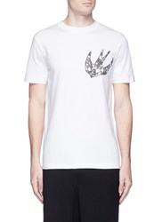 Mcq By Alexander Mcqueen Paisley Swallow Embroidered T Shirt White