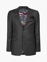 Ted Baker Bevlee Birdseye Wool Suit Jacket Charcoal
