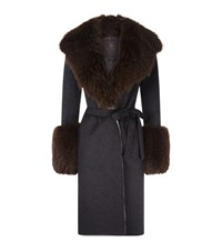 Lilly E Violetta Cashmere Fox Fur Trim Coat Multi