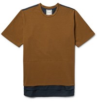 Wooyoungmi Two Tone Cotton Jersey And Poplin T Shirt Brown