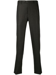 Canali Straight Leg Tailored Trousers Brown