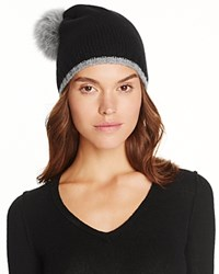 Magaschoni Color Block Fur Pompom Cashmere Hat Black Silver