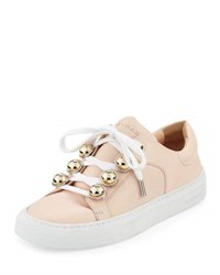 Carven Leather Dome Studded Low Top Sneakers Nude
