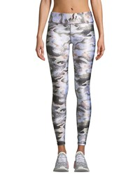 Terez Tall Band Metallic Camo Print Leggings