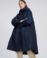 Aspesi Taffeta Padded Hooded Cape Panforte Winter Blue