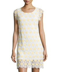Julia Jordan Floral Lace Cap Sleeve Shift Dress White Yellow