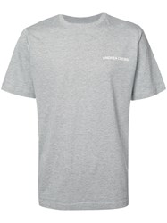 Andrea Crews Logo Chest Print T Shirt Grey