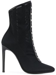 Giuseppe Zanotti Design Janice Mesh Booties Leather Spandex Elastane Black