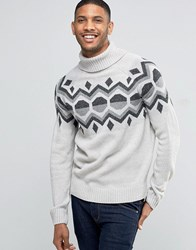 Bellfield Winter Jacquard Geometric Knitted Jumper Grey